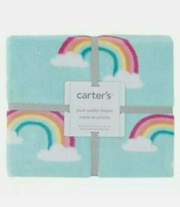 Carters Plush Toddler Blanket Colorful Rainbows 40 in x 50 in standard size
