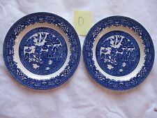 2 Wood & Sons Blue Willow Bread and Butter Plates - Old backstamp - Rare 6 inch