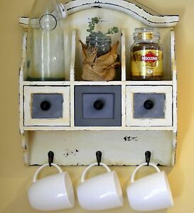 Shabby Rustic Ivory Home Barista Decor Hang Wall Kitchen Cabinets Hooks Shelve