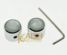 2Pcs Wiith Screw Pearl Top Chrome Guitar Dome Knobs for  Telecaster Bass Knob