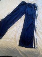 ADIDAS Track Pants Polyester Blue White 3 Stripe Full Leg Snap Mens SIZE Lg