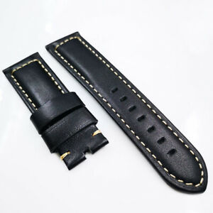 24mm 120/75mm Black Calf Leather Band 22mm Pin Buckle Strap for PAM Wristwatch