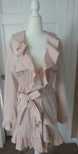 NWT Bebe Ruffled Trench Coat Jacket in Blush Pink/Nude Size L Lined in Satin