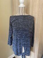 Women's Max Studio Hi-Lo Tie Front Shirt 3/4 Sleeves Size M