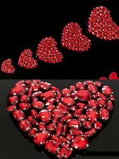 6 Love Heart Beaded Rhinestones Applique Sew On Patch DIY Jewelry Clothing Bag