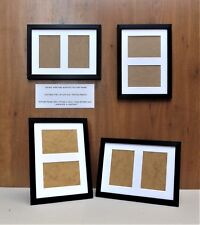 "Narrow Brushed Black Photo/Picture Frame with White DOUBLE 6x4""Aperture Mount"
