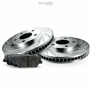 Rear Cross-Drilled Slotted Brake Rotors Disc and Ceramic Pads For Civic,EL