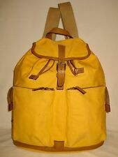 AUTH Prada J4724 Backpack Yellow Canvas Brown Leather Unisex Large & Heavy Duty