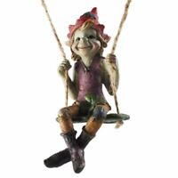 Pixie Swinging on a Clover Hanging Garden Ornament Figurine Decorations