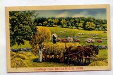 Greetings From Becks Mills OHIO *HAY WAGON HORSE DRAWN OLD LINEN*