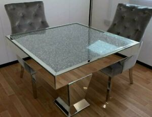 Mirrored Dining Table Mirrored Crushed Diamond Square Mirrored Dining Table