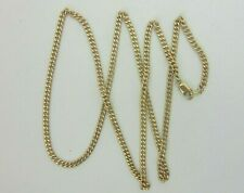 Solid 14K Yellow Gold Cuban Curve Link Chain Necklace 24 Inches 3 mm