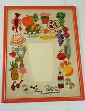 Vintage 70's Retro Crewel Embroidery Kitchen Food Wall Pocket Framed Handmade
