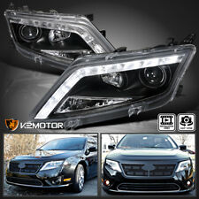 Fit 2010-2012 Ford Fusion Black Led Strip Projector Headlights Head Lamps Pair