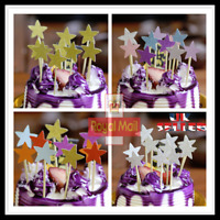 5-10 Pcs Cake Topper Birthday Party Happy Decoration Acrylic Supplies Gold UK