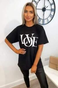 Womens T Shirt Ladies Oversized Baggy Fit Short Sleeve Slogan T-shirt Tops Tee