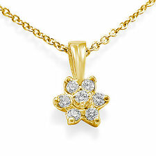 0.25 Ct VS1 Round Diamond Cluster Pendant Necklace 16 Inch Chain 14k Gold Yellow