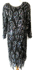 Vintage 80's SHOMAX Sequined Gatsby Flapper Silk M Party Cocktail Dress M