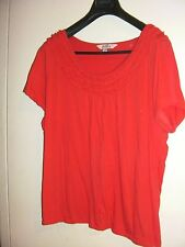 Avella Stretchy Coral Cotton Tunic Top with Ruffled Neckline (Size 18)