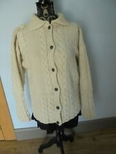 """L 42"""" Emerald Design Ladies Aran/Cable Knit Cardigan. Patterned All Over"""