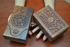 2 PCS HANDMADE ROSEWOOD HAND CARVED WOOD CHEST JEWELRY BOX F-197/F-238
