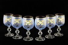 Bohemian Crystal Enameled Colored Wine Goblets, Vintage Blue Glasses Set of 6