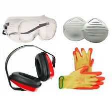 Great Value PPE Pack Ear Defenders 10Pc Dust Masks Grip Gloves Safety Goggles