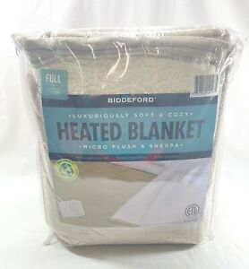 Biddeford MicroPlush Sherpa Electric Heated Blanket Full Taupe Tan 72x84