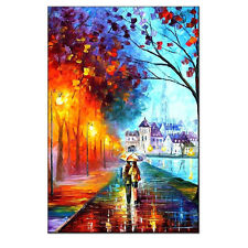 Abstract Tree Blue Red Colorful Wall Art  Lover walk in Rain Canvas Print Lar
