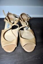 Jimmy Choo Beige Patent Leather Strappy Sandals Wedge Size 37 7
