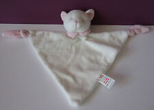 Soft Touch white pink pussy cat kitten comforter doudou blankie baby toy