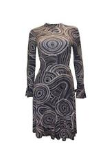 Abstract Dot Pattern Fit and Flare Long Sleeve High Neck Navy Midi Dress Size 18
