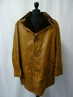 Men's Adastra 1970's Vintage Leather Overcoat Long Jacket L 44R
