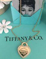 "Tiffany Co 18K Diamond Heart Tag Charm Necklace 18"" RTT Yellow Gold SZM RESERVED"