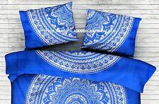 Ombre Mandala Printed Pillow Sham Indian Sofa Decor Bohemian Blue Cushion Cover