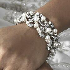 White Pearl & Clear Crystal Stretch Bracelet Formal Elegant Wedding Jewelry