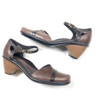 "Dansko Womens 40 10 Brown Black Clogs Mary Janes 2"" Heels Comfort Leather Shoes"