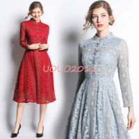 Fashion Womens Spring Lace Dress Long Sleeve Stand Collar Slim Fit Casual Skirts