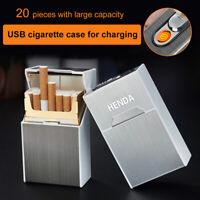 20-slot Portable Aluminium Cigarette Tobacco Storage Case with USB Lighter Hot