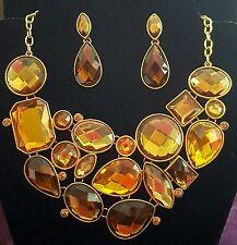 Joan Rivers yellow gold topaz rhinestone collar bib necklace & earrings set #15