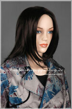 Perücke  wig  weiblich et-w245 Frau mittellang glatt schwarz Kopf  Haare  NEU!!!