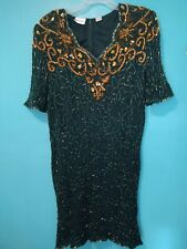 Denise Elle Women's Plus Size Vintage Beaded silk Dress Size 3X