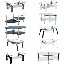 Cara Coffee Table Frosted Oval Glass Top Stainless Steel Living Room Furniture