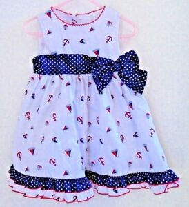 BABY GIRL'S SUMMER DRESS Red White Blue 24 Months Nautical Sailboats NWT