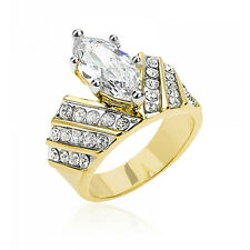 Cz Birthstone Engagement Lady Ring Size 7 15x8 mm Marquise Two Tone April Clear