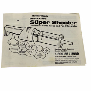 BOOKLET ONLY Hamilton Beach Super Shooter Cookie Press Cordless Food Decorator