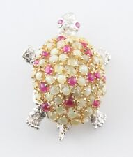 18k White Gold Chrysolberyl, Ruby, and Diamond Turtle Brooch 0.42 Carat Diamonds