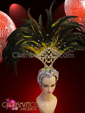 CHARISMATICO Golden glitter fan style headdress with crystals and yellow feather