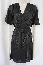 Donna Ricco Dress Sz 6 Black Silver Foil Ribbed Overlay Ruffle Cocktail Dress