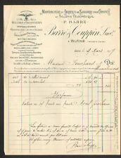 """BLERE 37: USINE d'ARTICLES de SELLERIE pour CHEVAL & VELO """"BARRE & COUPPIN"""" 1907"""